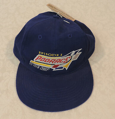 NWT Star Wars Episode 1 Podrace Pit Crew Chief Blue Baseball Cap Adjustable Back Pit Crew Cap
