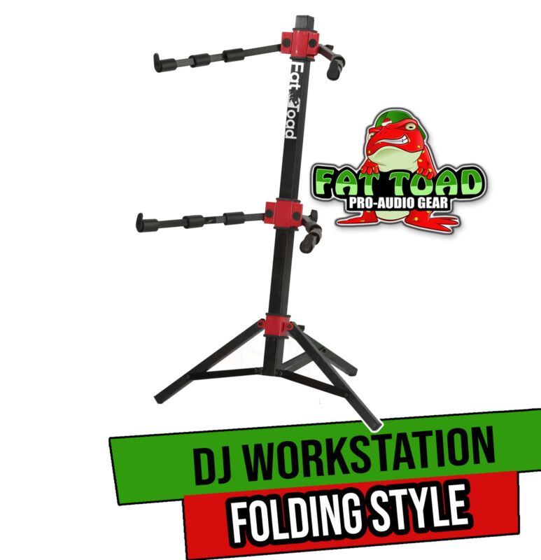 DJ Workstation Stand by FAT TOAD   2-Tier Multiuse Sliding Piano Turntable Mount