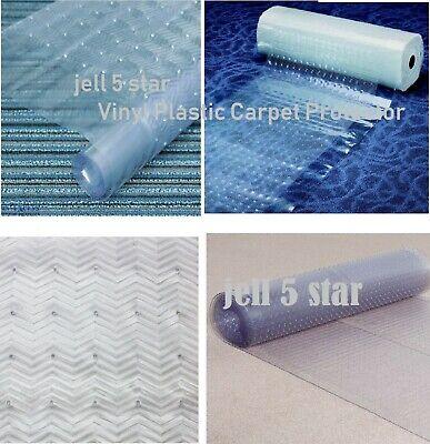 CLEAR CARPET PROTECTOR GUARD RUNNER PLASTIC VINYL ANTI NON SLIP MAT HALLWAY ROLL - Carpet Runner Rolls
