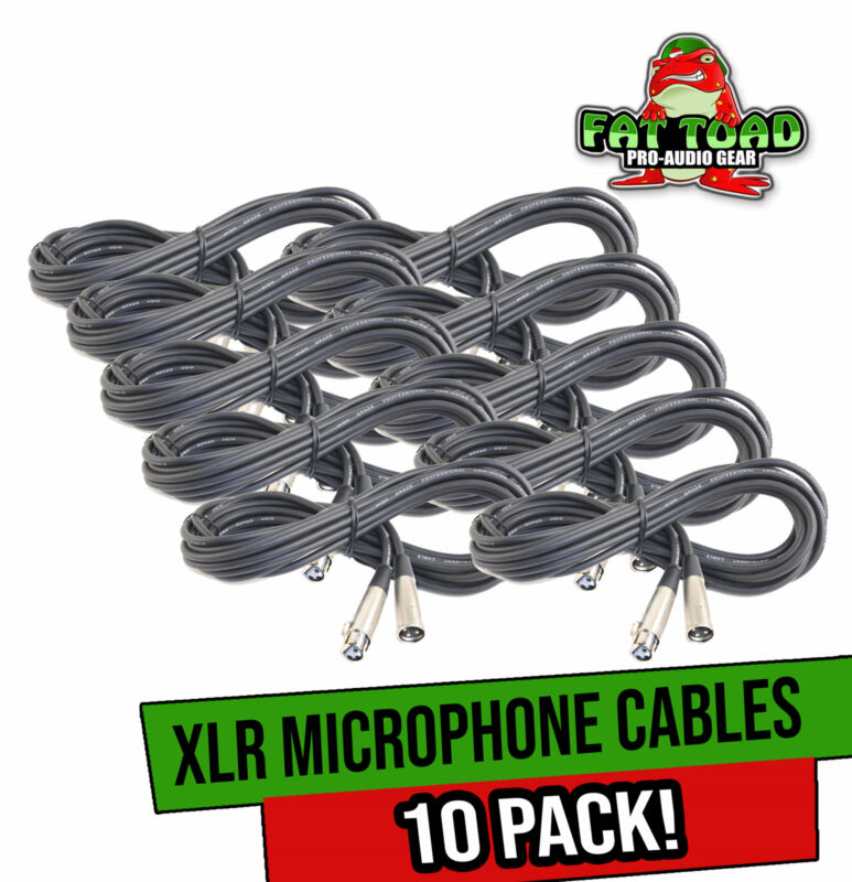 Microphone Cables by FAT TOAD (10 Pack) 20ft Professional Pro Audio XLR Mic Cord