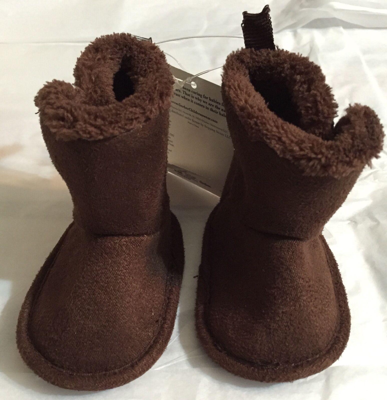 New Gerber 0-3 months Baby Boys Girls Winter Brown Boots Siz