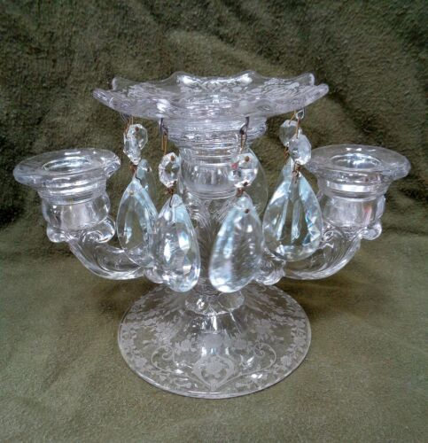 Cambridge DIANE CANDELABRUM 3 LT CANDLEHOLDER WITH Etched BOBECHE and PRISMS