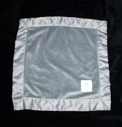 Carters Child of Mine Little Baby Blanket Gray Satin Trim Patch Security Lovey