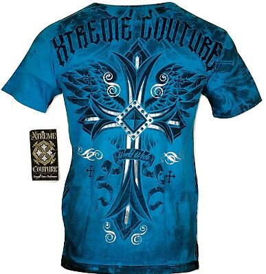 Xtreme Couture By Affliction Men T Shirt Loyal Following Cross Biker Mma Ufc  40
