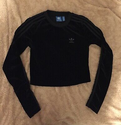 Adidas Womens Long Sleeve Top Sweater Velvet Velour Black Ladies UK 4-6 New