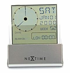 New! Silver Fold-able  LCA Display Alarm World Time/ Day/ Date Table Clock-5078