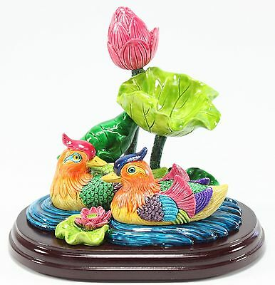 Feng Shui Mandarin Ducks in Lotus Pond Statues Marriage Luck Wedding Gift