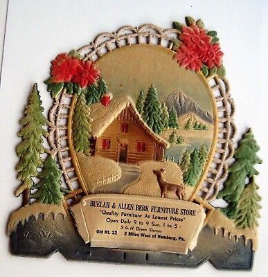Charming Vintage Christmas German Pulp Advertising Calendar Topper w/ Flowers * ()