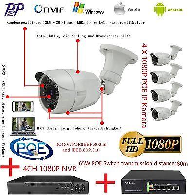 4 X 2MP 1080P POE Onvif IP Kamera + 1 X PoE Switch + 1 X 4CH NVR IP Kamera Kit  - Ip-kamera-kit