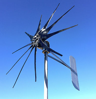 WIND TURBINE GENERATOR 1000 WATT 10 blade HIGH AMP Cutter© 12 VOLT AC 3-wire