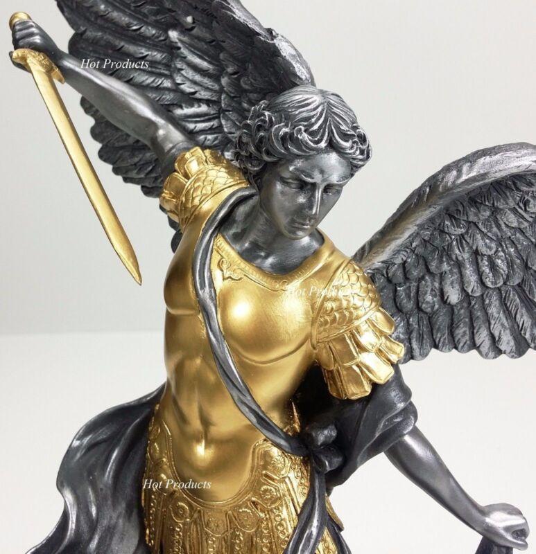 "14.5"" ST MICHAEL ARCHANGEL TRAMPLES DEMON Statue Silver & Gold Finish Sculpture"