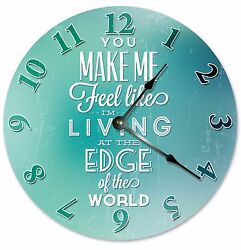 Feel Like Im LIVING at the EDGE of the WORLD Clock - Large 10.5 Wall Clock-2042