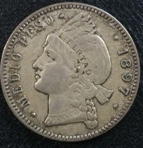 DOMINICAN REPUBLIC 1/2  Peso 1897  Silver  VF