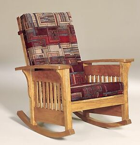 Amish mission arts and crafts rocking chair bow arm slat for Small wooden rocking chair for crafts