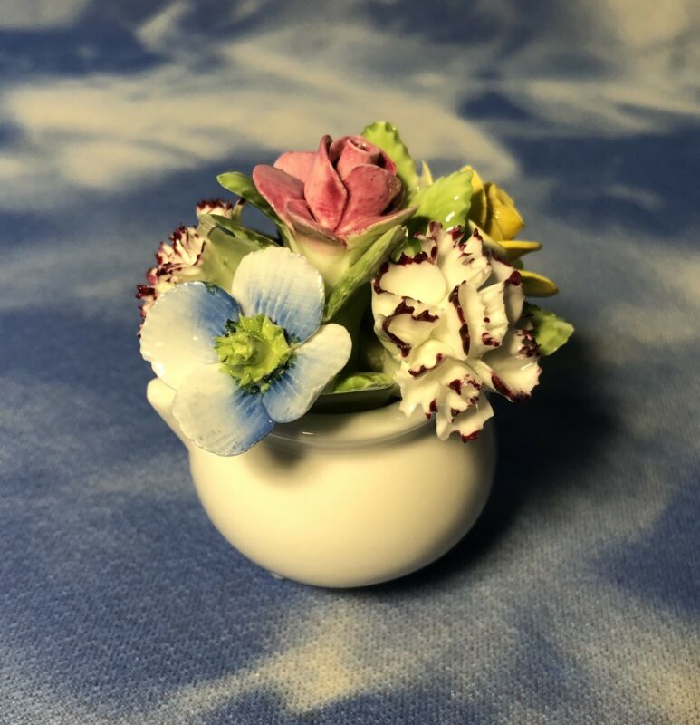 "HTF 2"" Adderley Bone China Floral Figurine in White Pot Flowers England As Is"