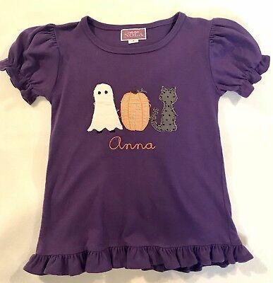 Applique Halloween Pumpkin Shirt Monogrammed ANNA Size 8 - Halloween Monogrammed Shirts
