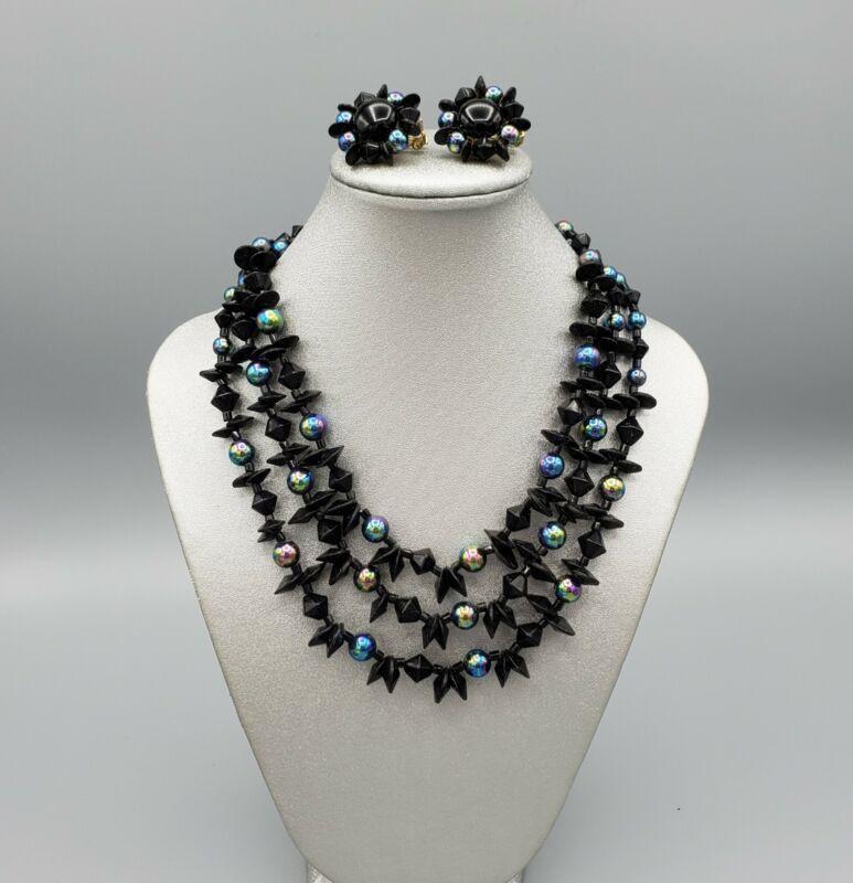 Vintage Japan Black & Peacock Plastic Bead Demi Parure Necklace & Clip Earrings