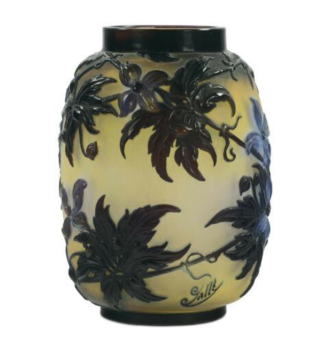 Vase Emile Galle original of 1800 . High 25 cm (10 inch) . Acid decoration multi