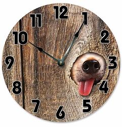 DOG IN FENCE Clock - Large 10.5 Wall Clock - 2072