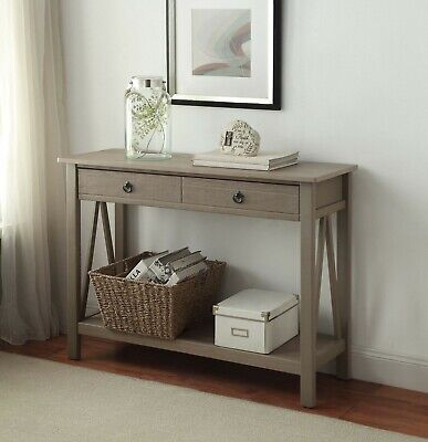 Entryway Console Table Rustic Narrow Wood Accent Tables For Hallway Living Room ()