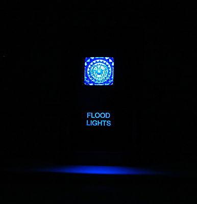 Dual LED Backlit Laser Etched FLOOD LIGHTS Rocker Switch - With Mounting Panel