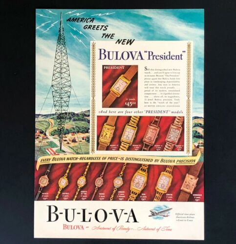 1940 Bulova President Watch Advertisement American Airlines Vintage Print AD
