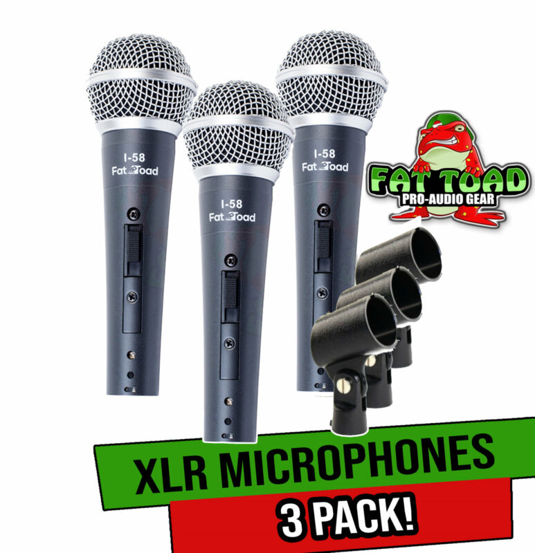 Vocal Handheld Microphones & Clips (3 Pack) by FAT TOAD   Cardioid Dynamic, Wire