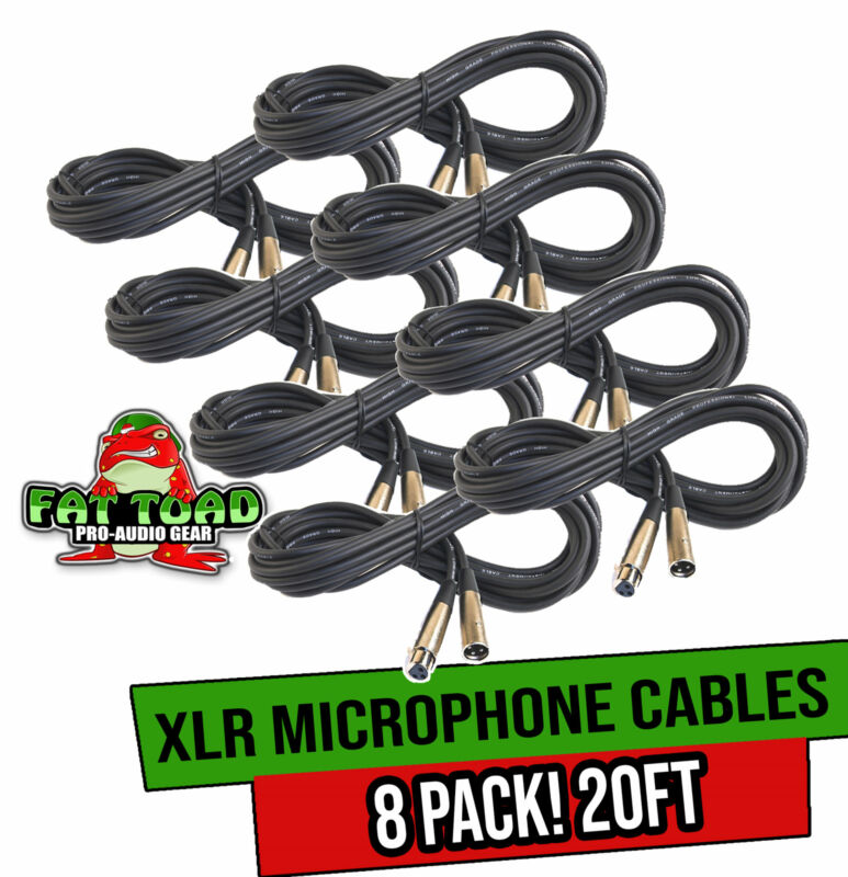 Microphone Cables - FAT TOAD   (8 Pack) 20ft Professional Pro Audio XLR Mic Cord
