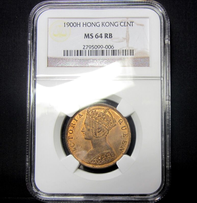 1900-H HONG KONG 1 CENT ✪ NGC MS-64-RB UNCIRCULATED ✪ RED BROWN BU CH ◢TRUSTED◣