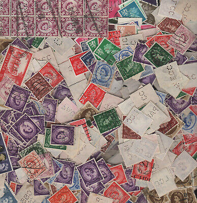QE Perfin Lot of 550+ Unsorted - Duplication Many Nice Cancels