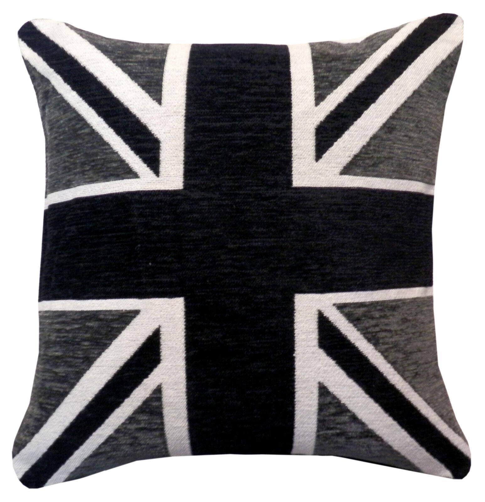 """4 X Remplis UNION JACK noir blanc gris 17/"""" 43 cm Coussins"""