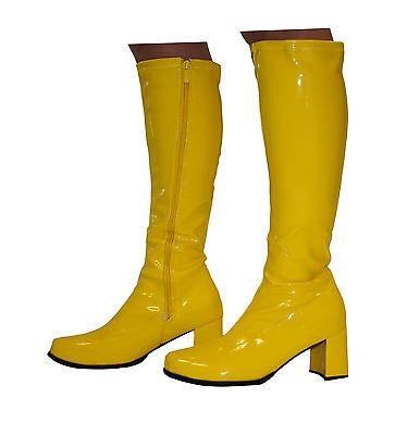 Yellow Boots - Knee High Fashion Boots - Size 9 Uk - Yellow Patent
