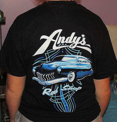 - Andy's Rod Shop New 2 sided chopped 50 Merc Led Sled Hot Rod T-Shirt Logo front