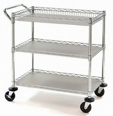 3 Shelf Rolling Steel Commercial Utility Cart Catering Tool Medical Kitchen Nsf
