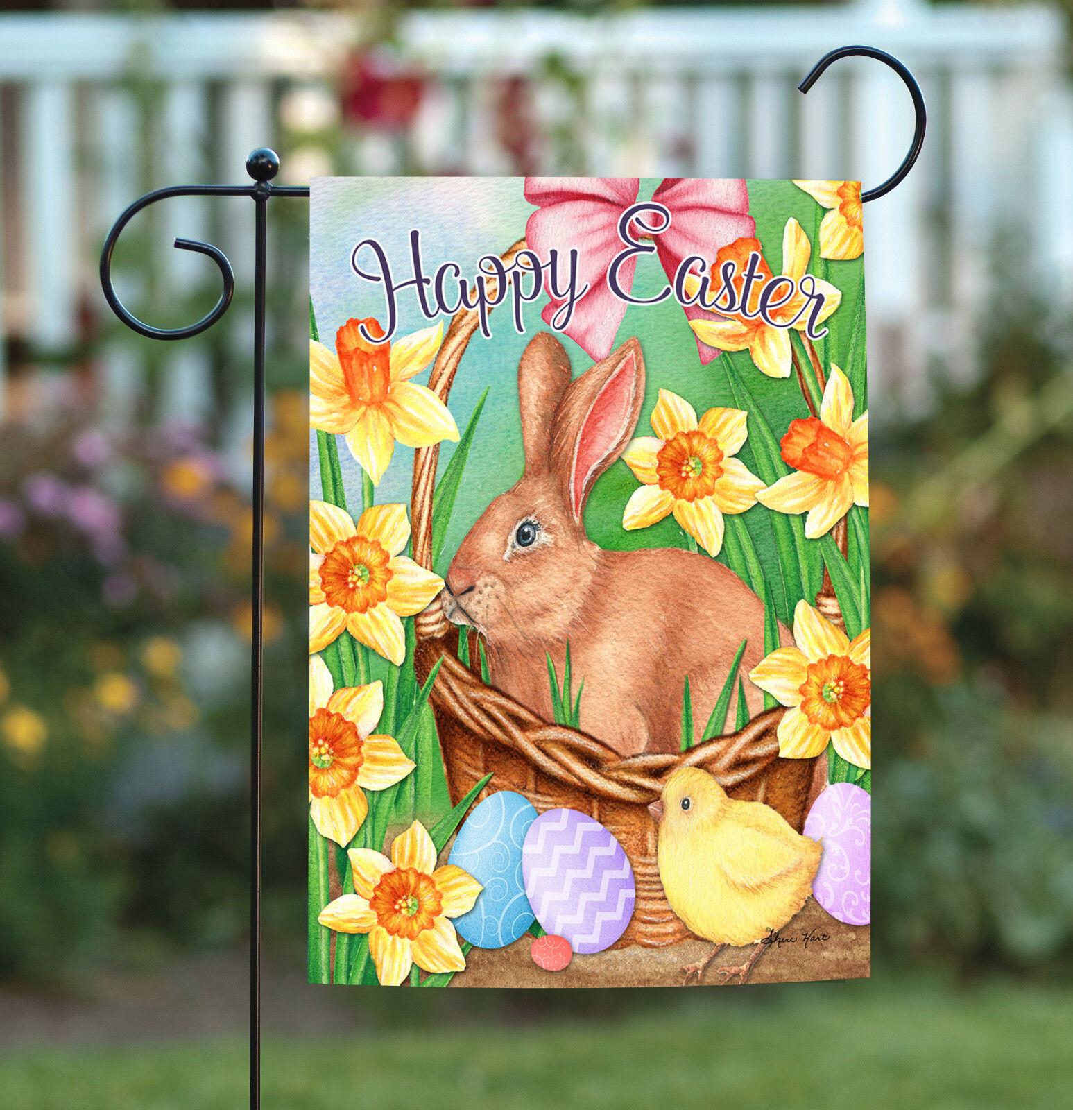 Toland Easter Basket Bunny 12.5 x 18 Spring Rabbit Daffodil
