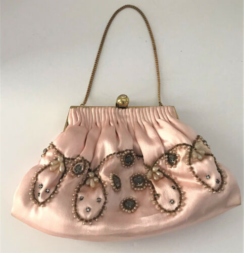 Vintage Jeweled Pink Satin bag with Gold Chain Strap by Magid
