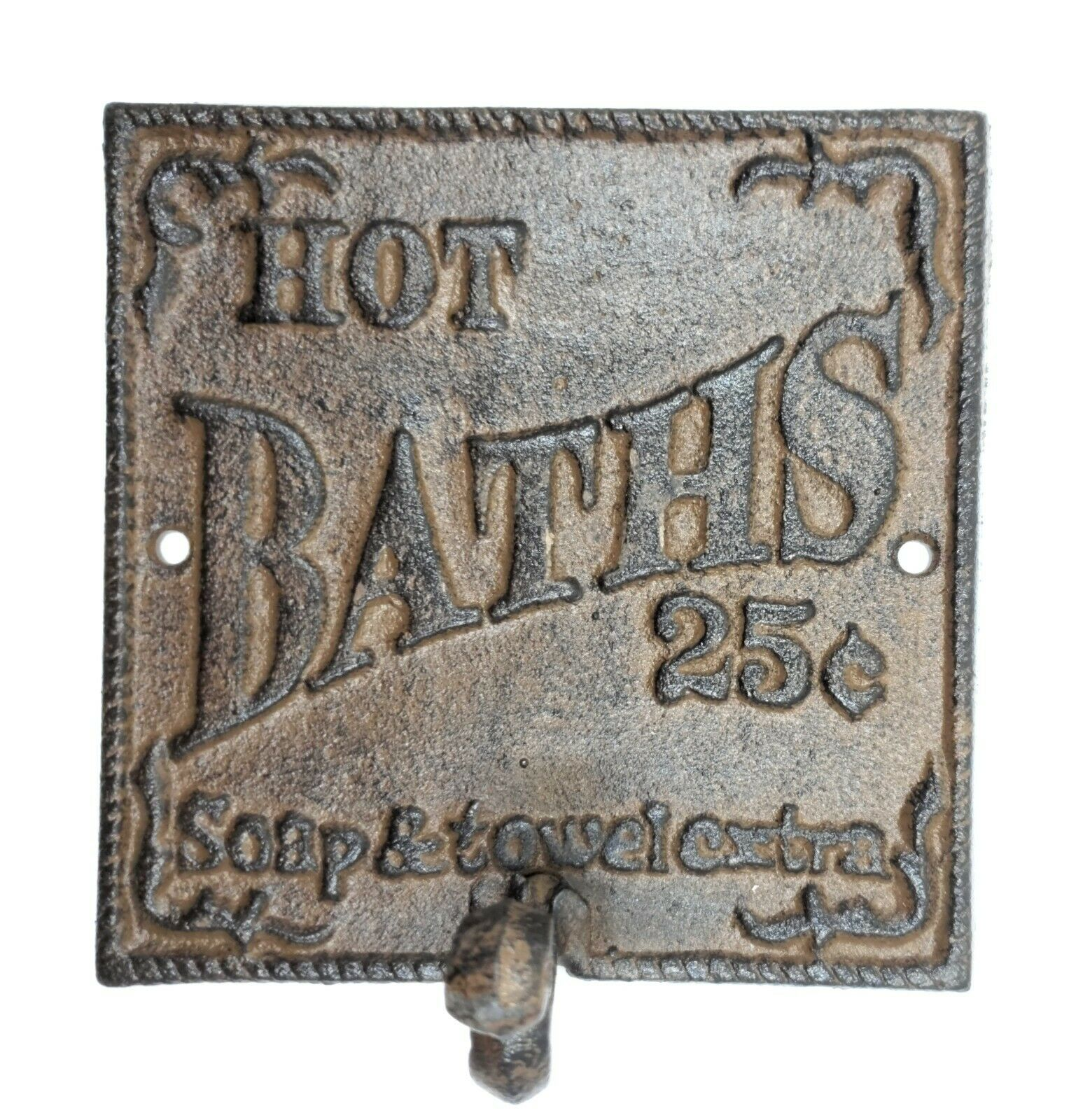 rustic hot bath sign hook farmhouse primitive