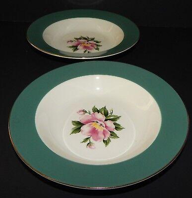 2 Homer Laughlin Century Service Empire Green Rimmed Soup Bowl Alliance Ohio USA