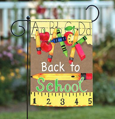 Toland Back to School Supplies 12.5 x 18 Fall Crayon Pencil Ruler Garden Flag