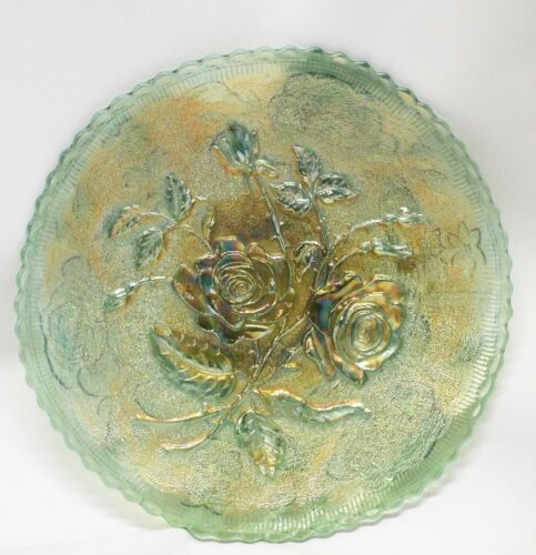 """Antique IMPERIAL Green OPEN ROSE Pattern Scalloped Edge 9"""" CARNIVAL GLASS PLATE"""