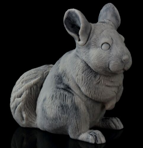 Chinchilla Marble Stone Figurine Pet Animal Sculpture Russian Art Statue 3""