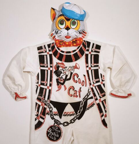COOL CAT BEATNIK VINTAGE HALLOWEEN COSTUME WEIRD 1950s RETRO w/ MASK & SUIT