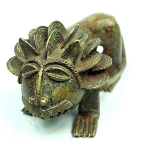 Art African tribal - Figure Bronze - Lion Ashanti Asante Akan - 16 CMS