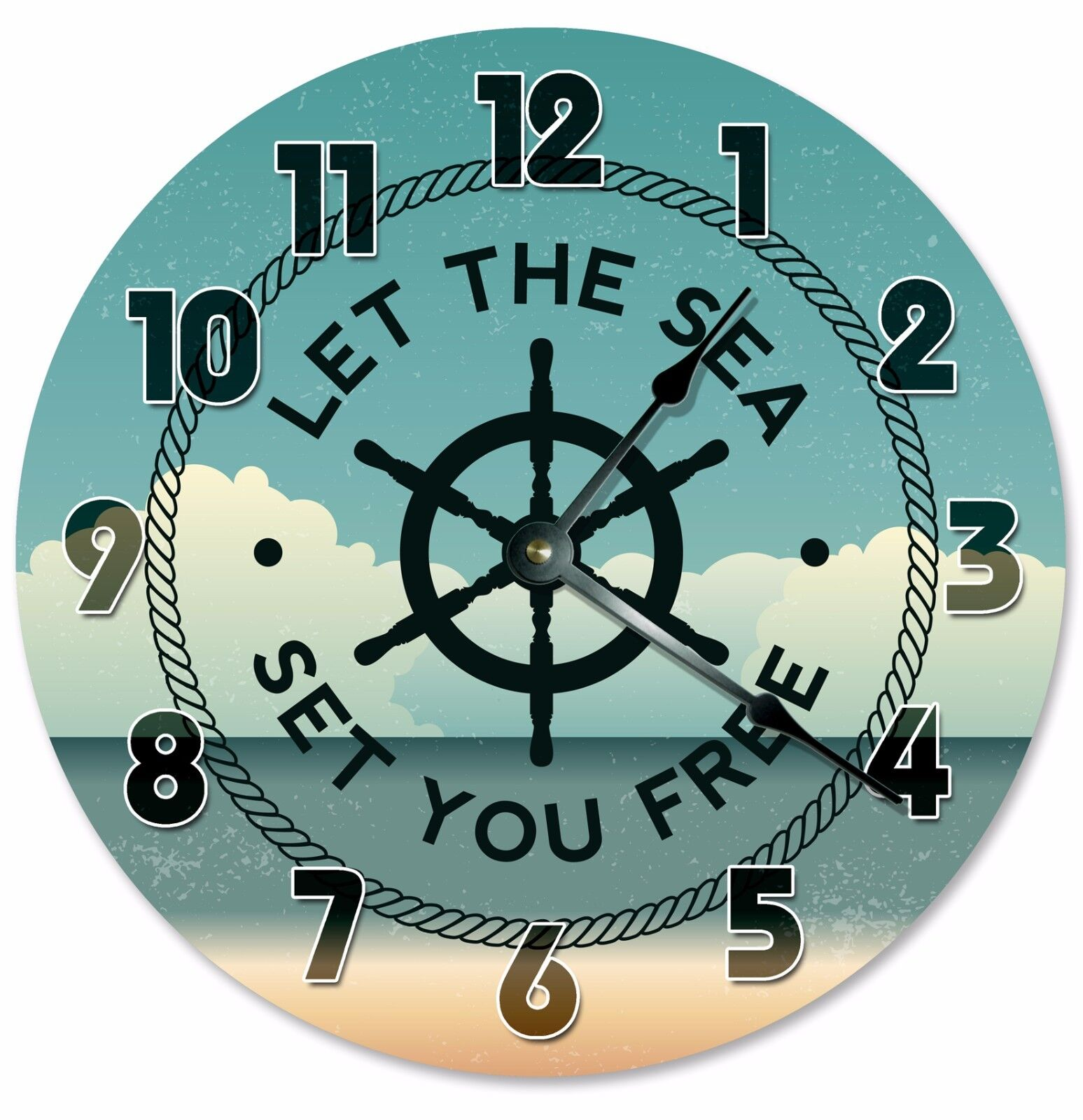"LET THE SEA Set You Free Clock - Large 10.5"" Wall Clock - 2193"
