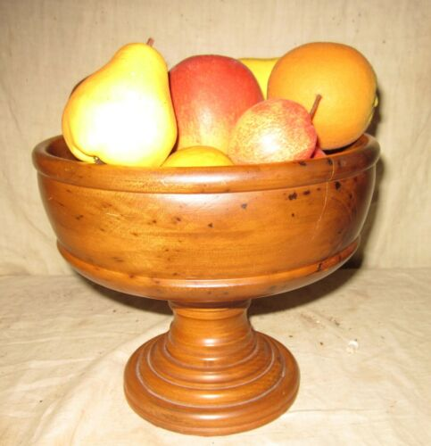 A WONDERFUL EARLY TURNED PEDESTAL WOODEN BOWL