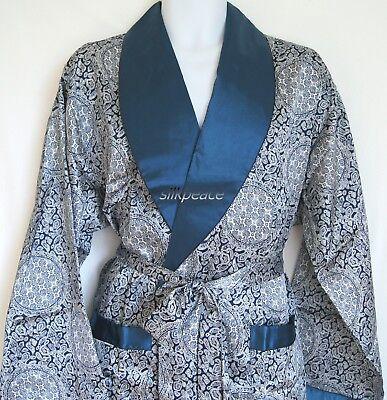 Mens Silk Satin Pajamas Kimono Robe Gown Loungewear US S M L XL,2X to 5X pattern (Satin Men Robe)