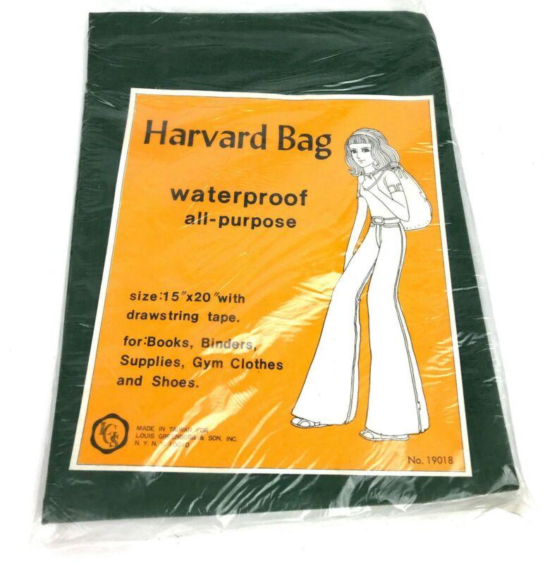 "Vintage Harvard Bag Waterproof Canvas drawstring 15"" x 20"" Bag NOS"