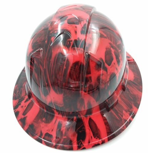 Hard Hat FULL BRIM custom hydro dipped, NEW RED MELTING SKULL EVIL SUPER SICK 3
