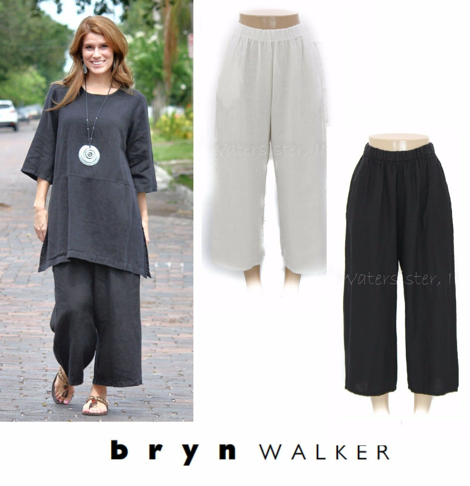 BRYN WALKER Heavy Linen  FLOOD PANT  Wide Crop Pocket Pants X S M L XL FALL 2017
