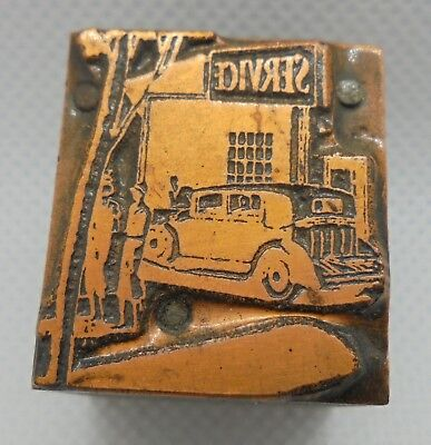Vintage Printing Letterpress Printers Block Service Station With People Car